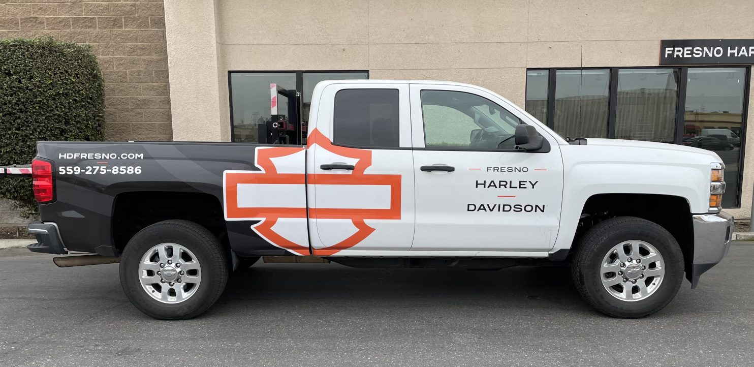 We Help Fresno Harley Davidson Create an Eye Catching Vehicle Wrap - Vehicle Wrap Services in the Fresno, California Area